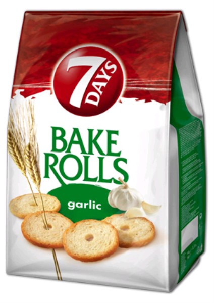 7 Days Bake Rolls snack nagyker 70-80-90 g fokhagymás - sós rágcsálnivaló és snack nagykereskedés